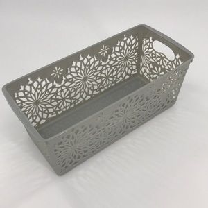 5-Pack Gray Basket Panier Organizers with floral
